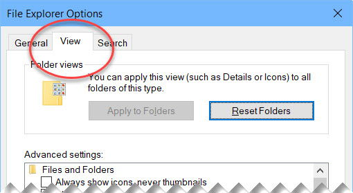 Folder Options View tab