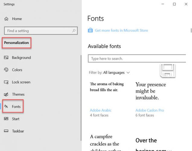 Windows 10 Fonts drag n drop