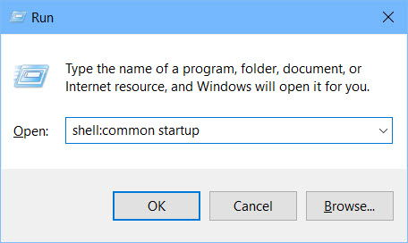 open common startup folder in Windows