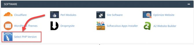 Select PHP Version option in cPanel