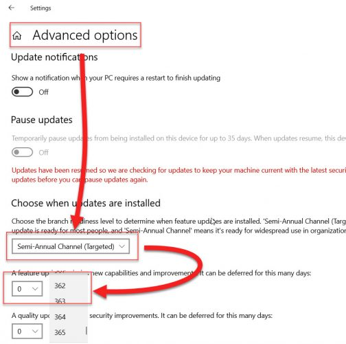 Defer Windows 10 feature updates