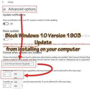 How to Block Windows 10 May 2019 Update ( Version 1903)