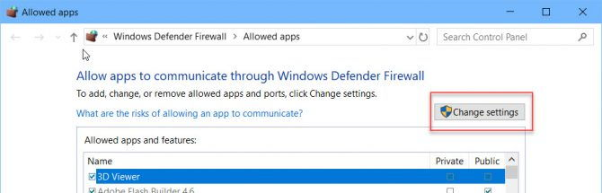 Firewall change settings
