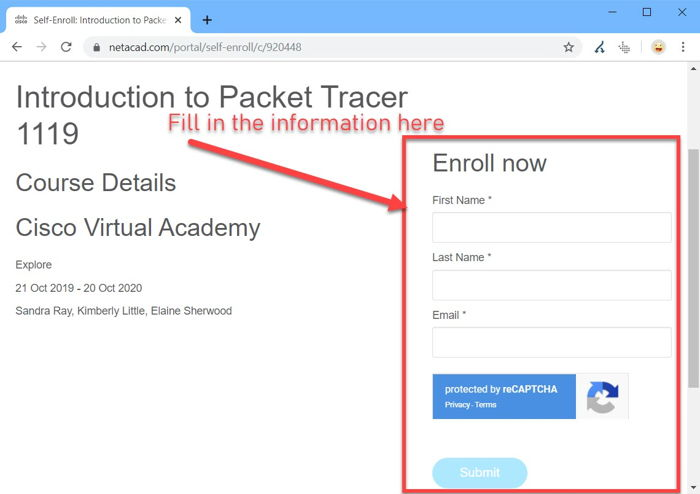 Introduction to Packet Tracer enrollment