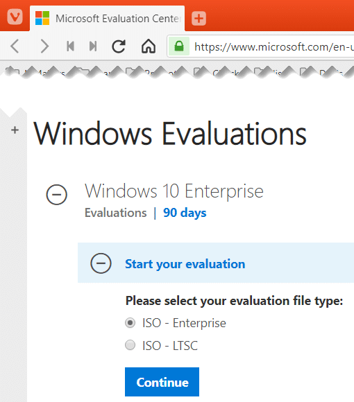 Select Windows 10 Enterprise evaluation ISO file type