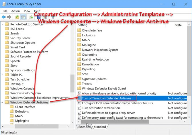Turn off Windows Defender Antivirus group policy