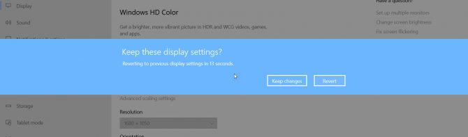 Keep display settings