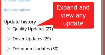 View update history in Windows 10