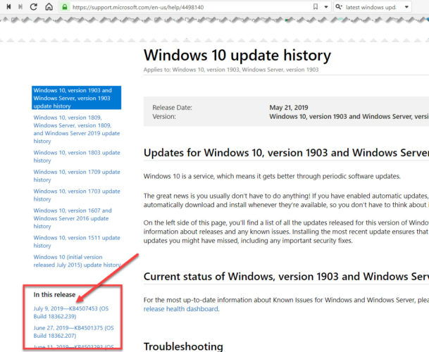Windows 10 latest cumulative update