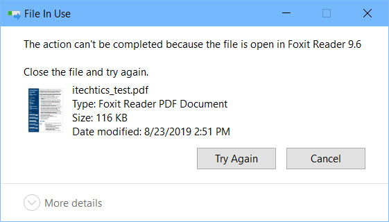 File is open in another program
