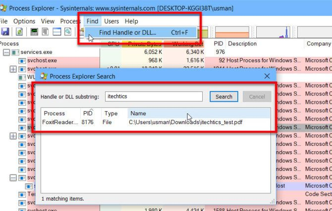 Finding file handle in Process Explorer