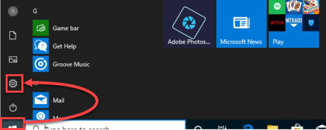 Open Windows Settings from Start Menu