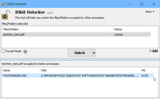Unlock file using IObit Unlocker