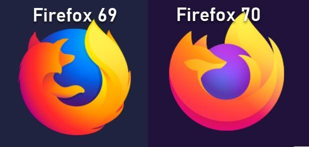 Firefox 69 vs Firefox 70 icons