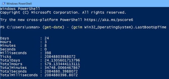 Get Uptime in PowerShell