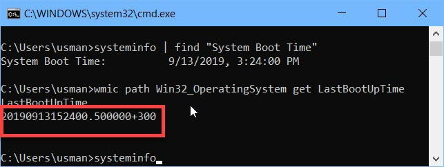 WMIC command to get last boot time