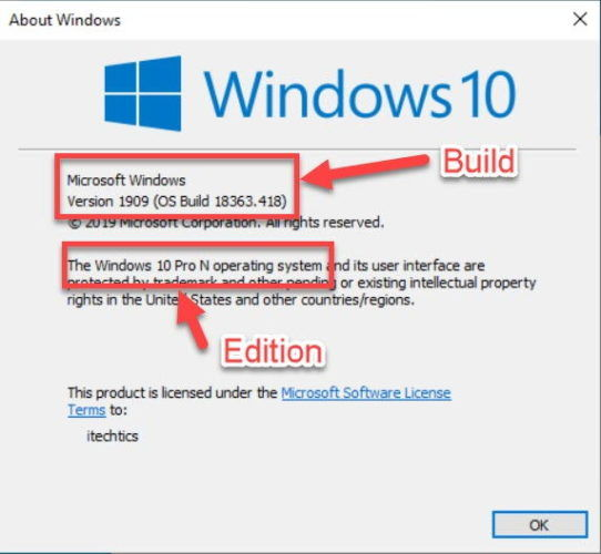 Build and Edition of Windows Winver