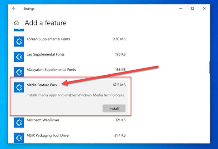 How To Install Media Feature Pack In Windows 10 N/KN Version 1909