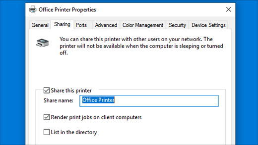 Share a printer over the network