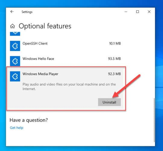Uninstall Windows Media Player from Windows 10 optional features