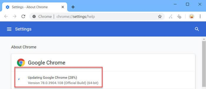 Automatically updating Google Chrome
