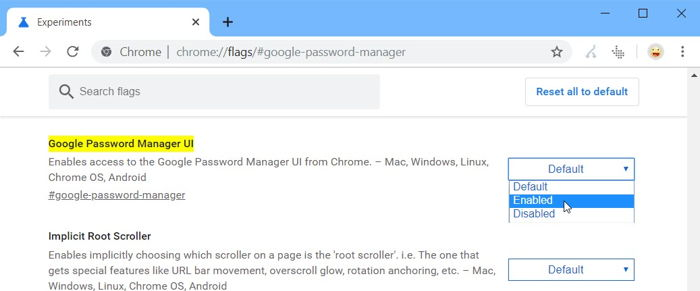 Enable Google Password Manager