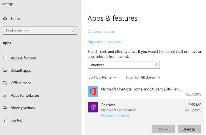 Uninstalling OneNote from Apps and Features