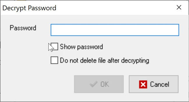 Decrypting file using EncryptOnClick
