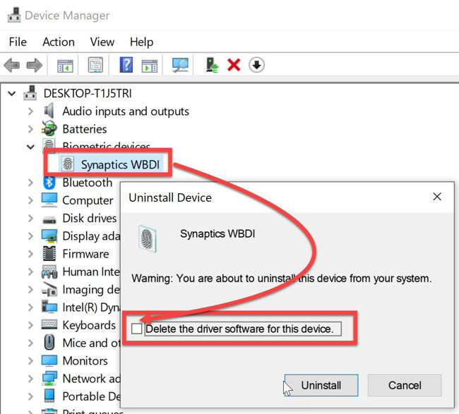 Uninstall a device from device manager