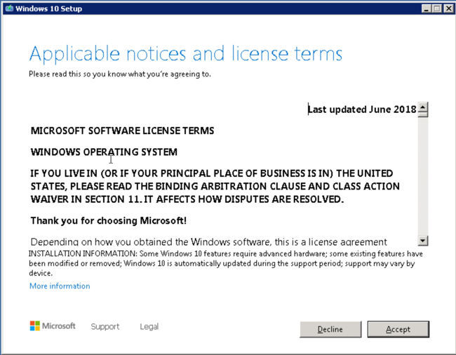 Accept Windows 10 license agreement