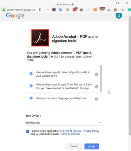 Accept right to access your data in Google Drive by Adobe