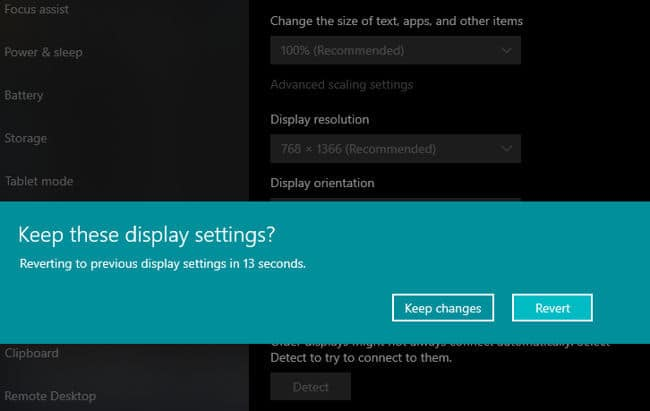Confirmation message about keeping these display settings