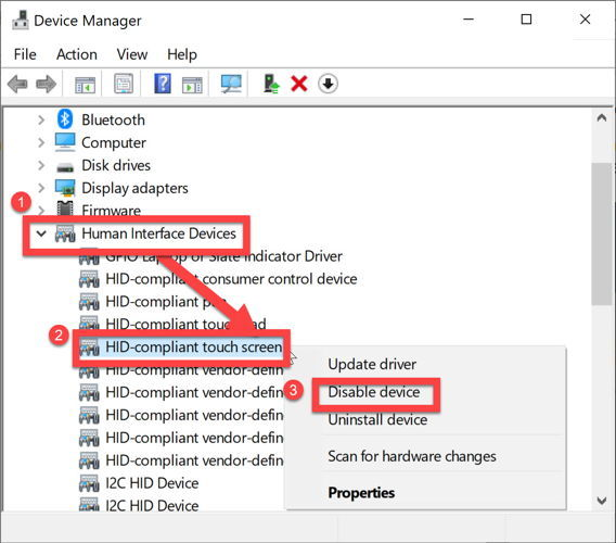 Disable HID compliant touch screen from Device Manager