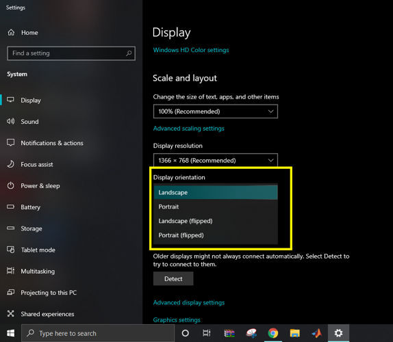 Display orientation settings