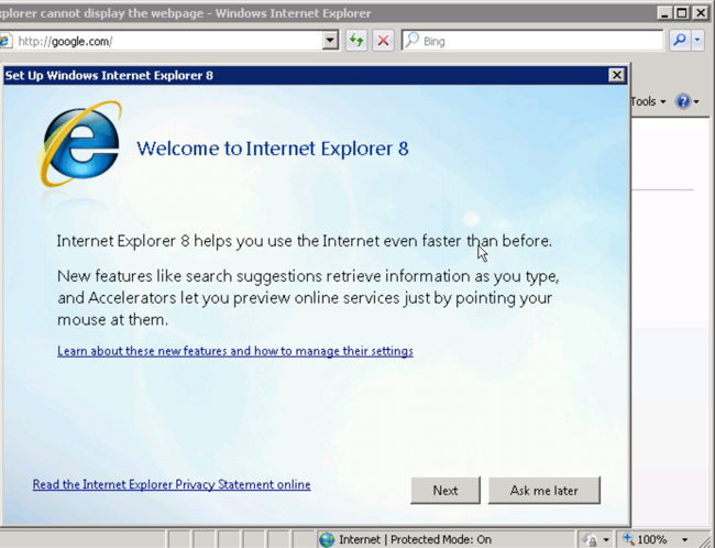 Internet Explorer 8 welcome screen