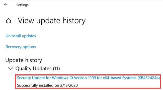 Look for KB4524244 in update history