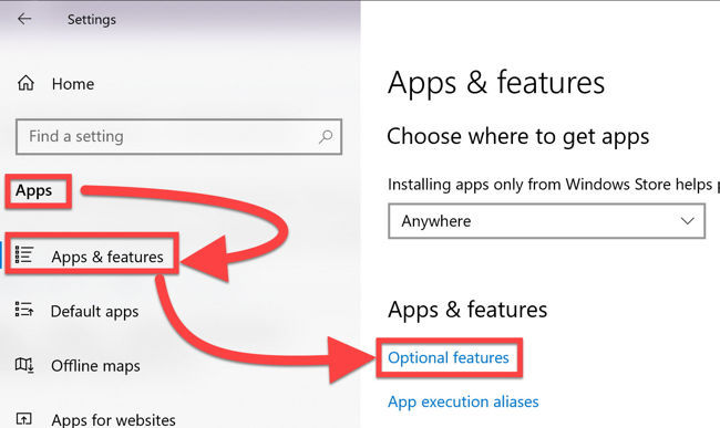 Optional features under Apps Features
