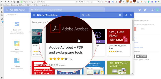 Search for Adobe Acrobat in GSuite Marketplace using the domain admin
