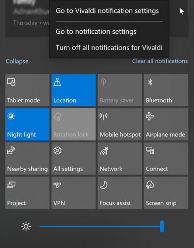 Turn off notifications for an app in Windows 10