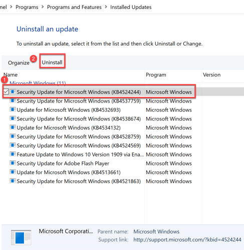Uninstall Kb4524244 update from Windows 10