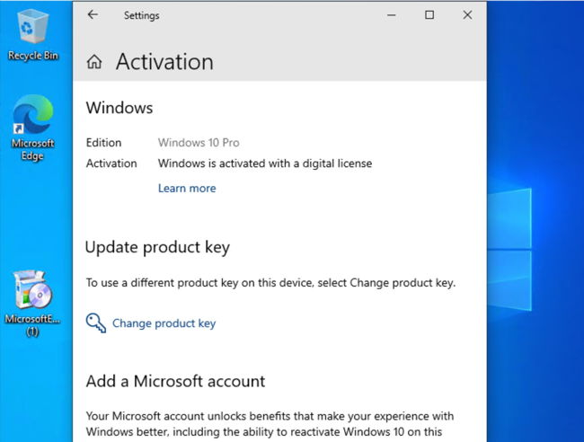 Windows 10 activated after upgrading from Windows 7