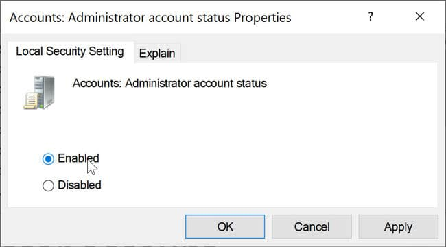 Accounts Administrator account status enable or disable