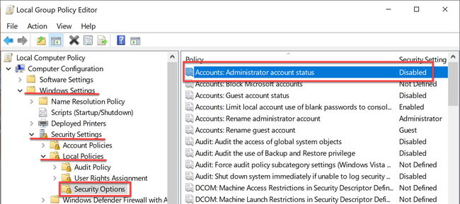 Administrator account status in Group Policy