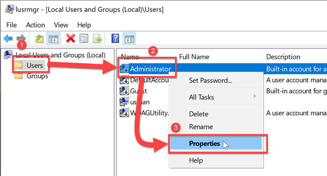 Administrator user in local users and groups Windows 10