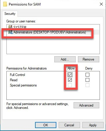 Allow full control to Administrators on SAM registry
