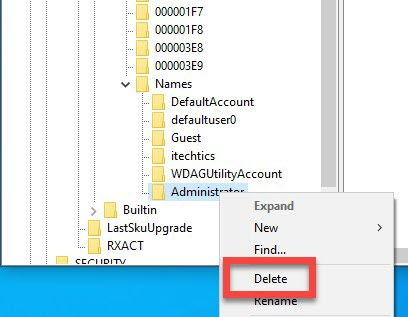 Delete Administrator account from Registry