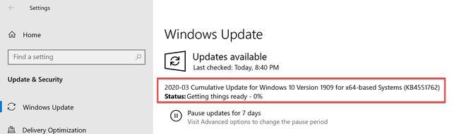 Download And Install KB4551762 Windows 10 Cumulative Update For March 2020 [Version 1909, 1903]