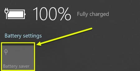 Enable battery saver mode using battery icon in system tray in Windows 10
