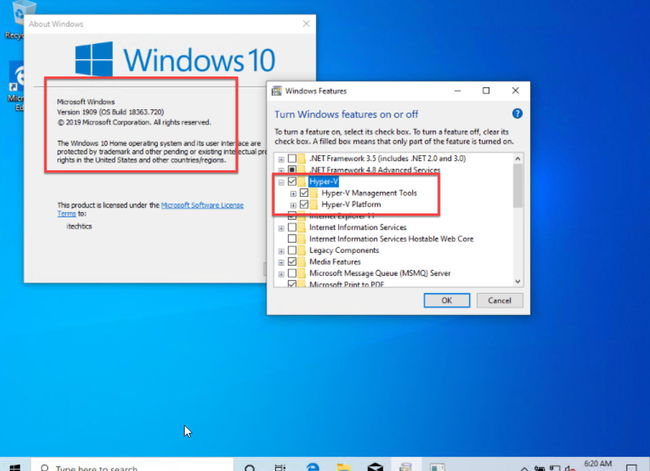 Hyper V enabled in Windows 10 Home system