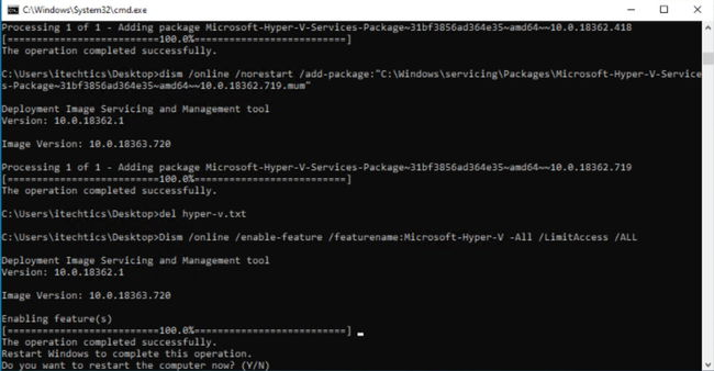 Running enable hyper V batch installation file